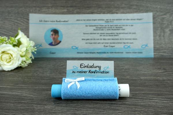 Einladungskarte aus Filz & Pergamentpapier Design Fisch Silhouette hellblau