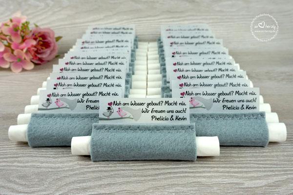 Freudentränen Taschentücher aus Filz Grau, Design Hochzeitsvögel Grau/Rosa