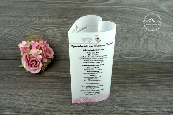 """Menükarte Herzform, Design """"Hochzeitsvögel auf Ast"""" Farbe puderrosa/beigegrau, Schrift Amazone BT - Sonderanfertigung"""