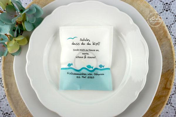 LichtBotschaft Fische Türkis - Verpackung als Platzkarte