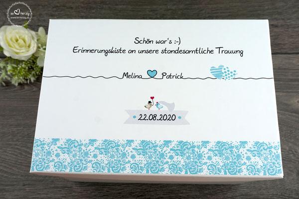 Hochzeitskiste Design Spitzenband Kleine Kiste/25x18x15cm TürkisHell