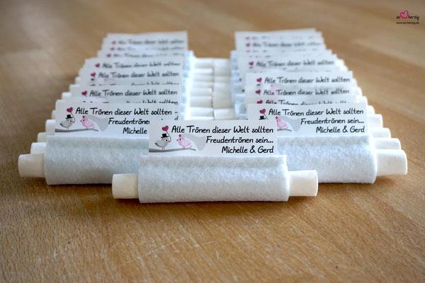 Freudentränen Taschentücher Filz weiß