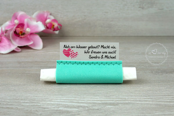 "Freudentränen Taschentücher, Design ""zwei Herzen"" pink, Moosgummi mint - Sonderanfertigung"