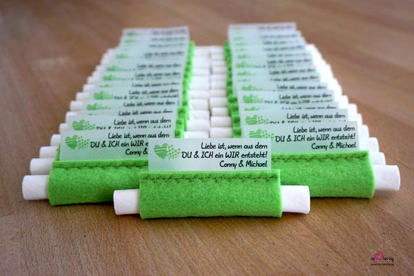 Freudentränen Taschentücher Apfelgrün, Hochzeit Kretschmar