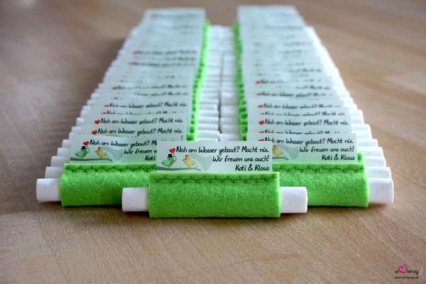 Freudentränen Taschentücher Filz Apfelgrün - Sonderwunsch Vögelchen grün/gelb