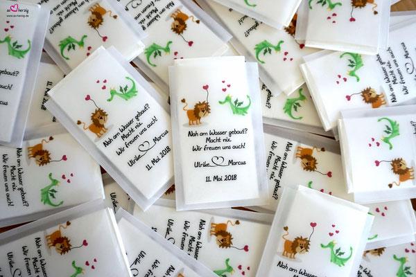 """Freudentränen Taschentücher """"flach"""" aus Pergamentpapier, Sonderwunsch - Design mit Löwe & Drache"""