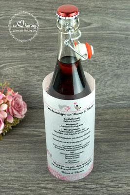 """Menükarte rund für Flasche, Design """"Hochzeitsvögel auf Ast"""" Farbe puderrosa/beigegrau, Schrift Amazone BT - Sonderanfertigung"""