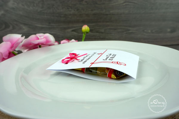 Fruchtgummi zur Taufe, Design Vögelchen Pink - Seitenansicht