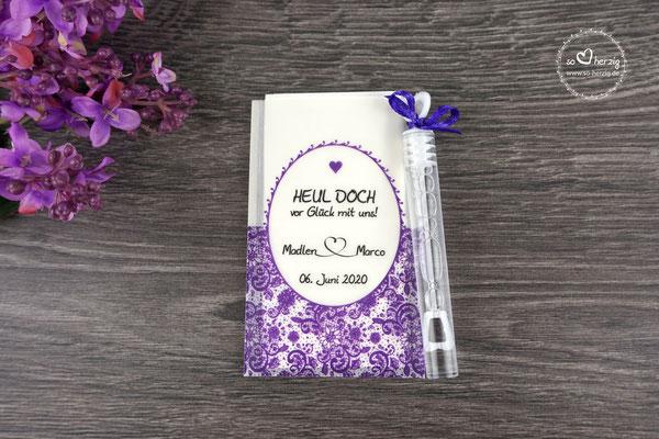 Freudentränen Taschentücher flach mit Bubbles, Design Romantik Lila