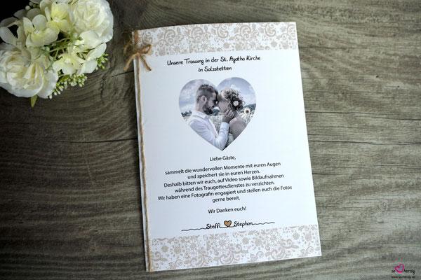 Kirchenheft Deckblatt - Hochzeit Steffi & Stephan