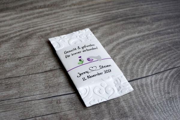 """Freudentränen Taschentücher Banderole mit geprägten Taschentücher, Design """"Hochzeitsvögel"""""""