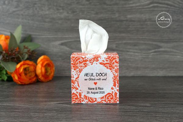 Freudentränen Taschentücher Box, Design Spitze Orange