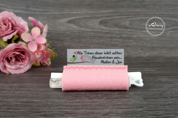 Freudentränen Taschentücher mit Weddingbubbles, Filz puderrosa, Design Hochzeitsvögel grün/rosa
