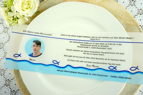 Einladungskarte aus Filz & Pergamentpapier Design Fisch Silhouette Dunkelblau/Aqua - Sonderanfertigung Farben