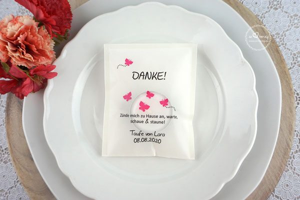 Teelicht-Botschaft Design Schmetterlinge Pink