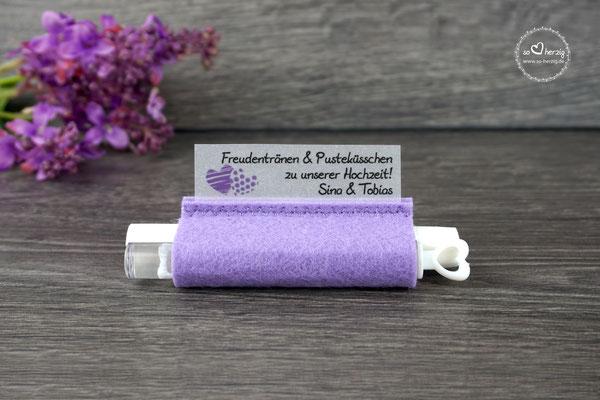 Freudentränen Taschentücher Filz Flieder mit Bubbles, Design zwei Herzen