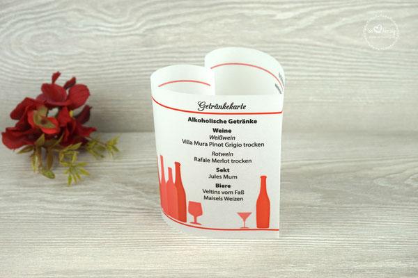 Getränkekarte 10,5cm Farbe Rot
