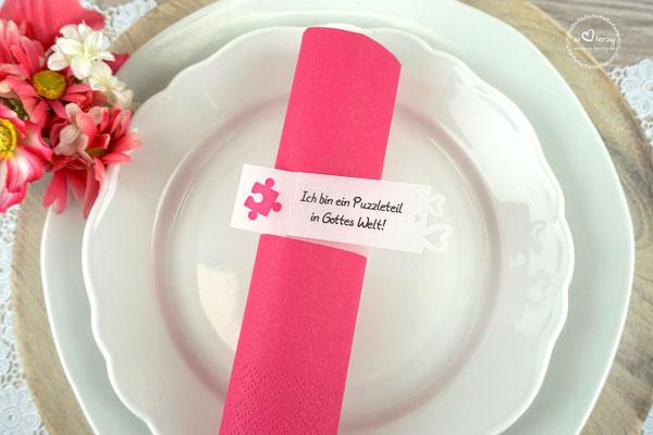 Serviettenring Design Puzzle Pink - Sonderwunsch