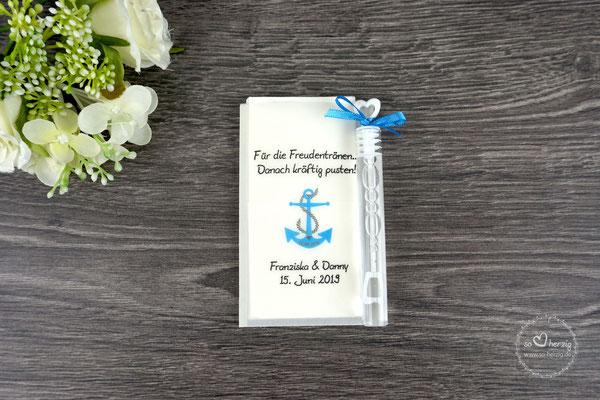 Freudentränen Taschentücher mit Bubbles, Design Anker blau