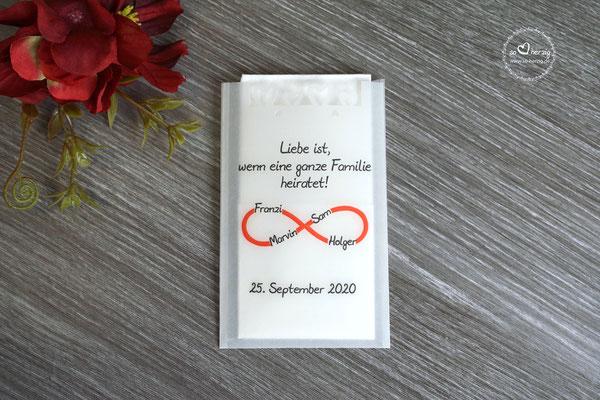 Freudentränen Taschentücher Flach Design Unendlich, Farbe Rot mit Herzrand