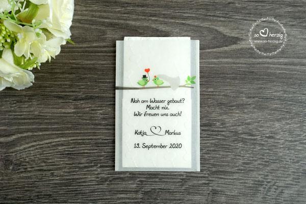 """Freudentränen Taschentücher aus Pergamentpapier Design  """"Hochzeitsvögel auf Ast"""" Grün/Grün"""