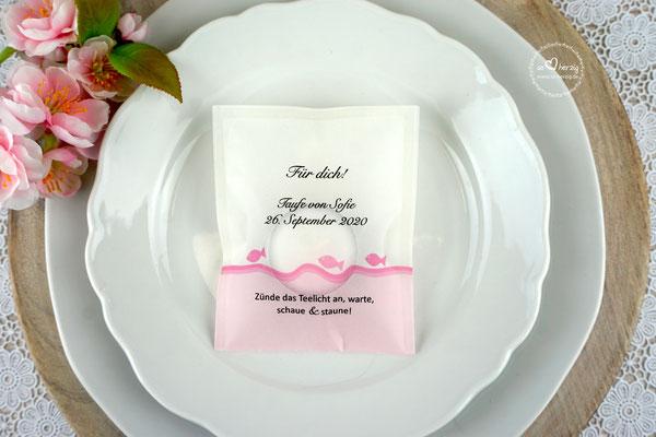 Teelicht-Botschaft Design Fische Rosa