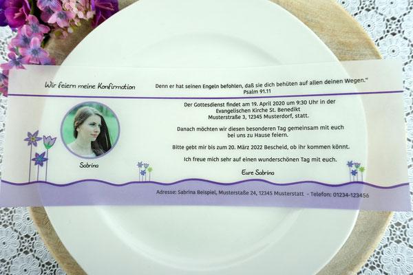 Einladungskarte aus Filz & Pergamentpapier Design Blumenwiese Lila