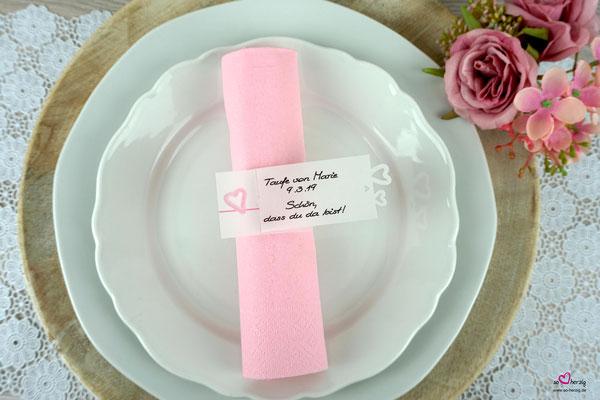 Serviettenring Aquarellherz rosa, Herzrand