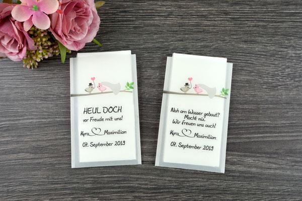 "Freudentränen Taschentücher flach, Design ""Hochzeitsvögel"", Farbe graubraun/puderrosa"