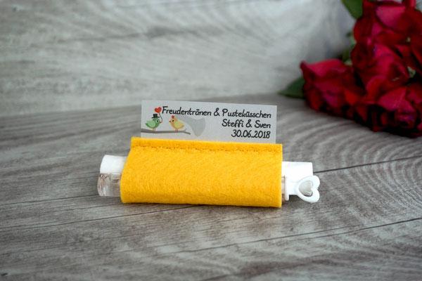 Freudentränen Taschentuch gelb mit Weddingbubbles, Sonderwunsch