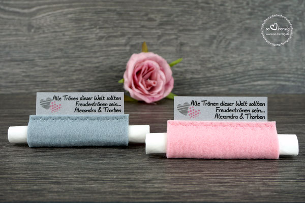 """Freudentränen Taschentücher Filz Rosa & Grau Design """"zwei Herzen"""""""