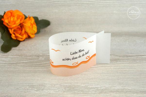 Platzkarte Fischform Design Fisch Silhouette Orange
