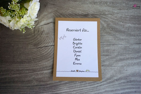Reservierungskarte für Kirche - Hochzeit Steffi & Stephan