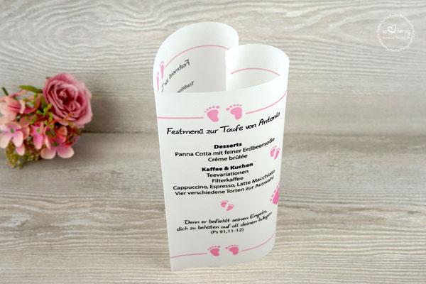 Menükarte Herzform 17cm, Design Foot Rosa