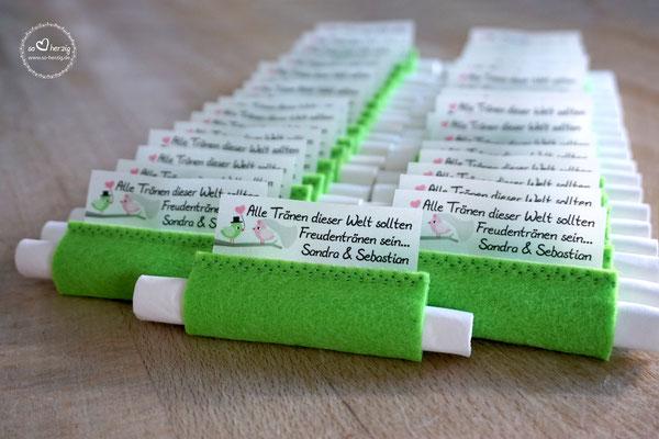 Freudentränen Taschentücher aus Filz Apfelgrün, Design Hochzeitsvögel Apfelgrün/Rosa