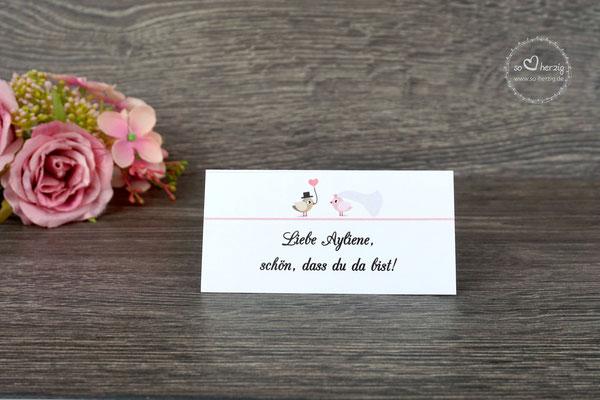 Platzkarte personalisiert, Design Hochzeitsvögel graubraun/puderrosa