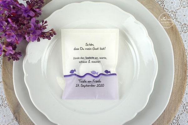Teelicht-Botschaft Design Fische Lila
