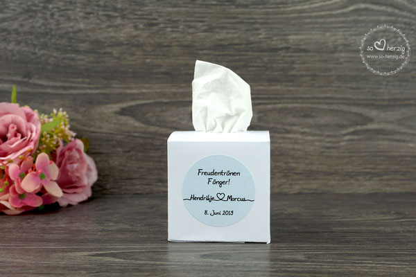 """Freudentränen Taschentuch Box weiß, Aufkleber Design """"Für immer"""" hellblau"""