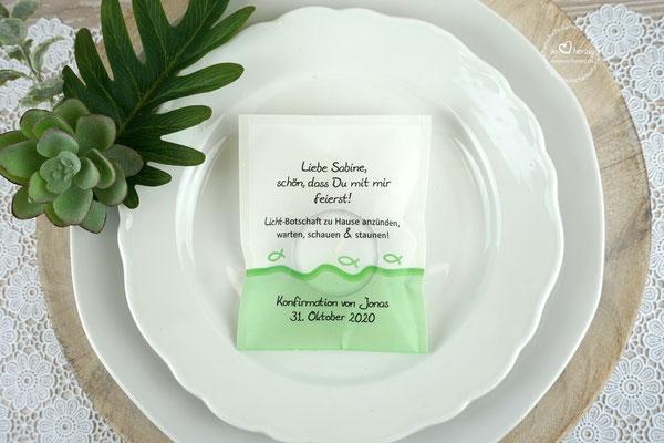 Teelicht-Botschft Design Fisch Silhouette Apfelgrün - Verpackung als Platzkarte