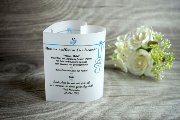 Menükarte Herz zur Taufe, 10,5cm, Design Vögelchen Blau