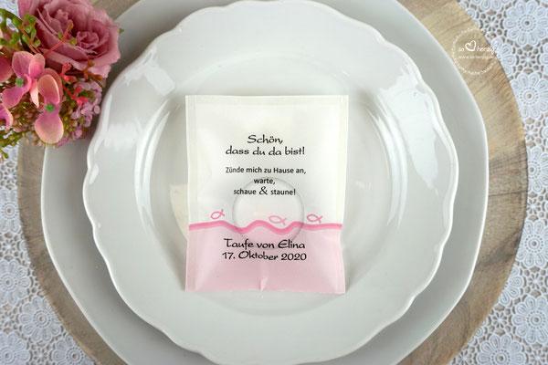 Teelicht-Botschaft Design Fisch Silhouette  Rosa