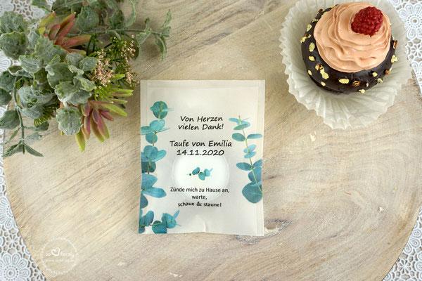 Teelicht-Botschaft Design Eukalyptus