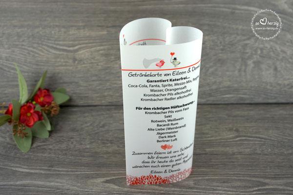 Menü,- und Getränkekarte 17cm hoch, Design Hochzeitsvögel Graubraun/Rot