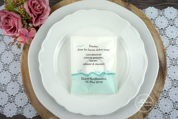 Teelicht-Botschaft Design Fisch Silhouette türkis- Sonderwunsch
