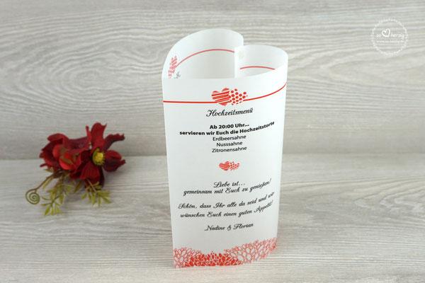 "Menükarten 17cm Design ""zwei Herzen"" Rot"