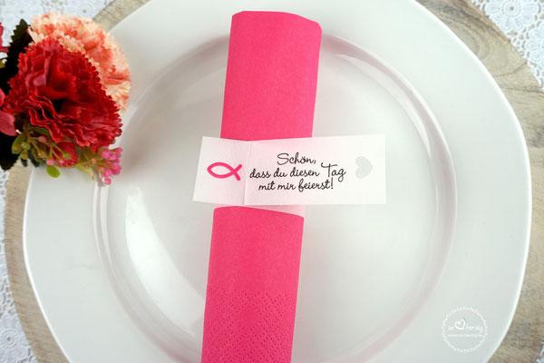 Serviettenringe Design Fisch Silhouette Pink