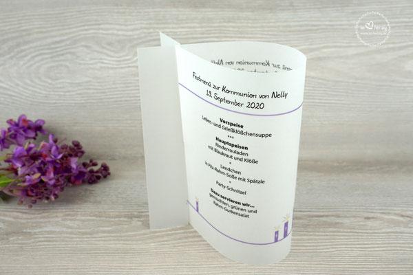 Menükarte Fischform 17cm, Design Kerzen Flieder