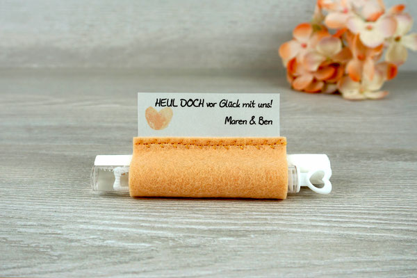 Freudentränen Taschentücher mit Weddingbubbles, Filz apricot, Design Fingerprint