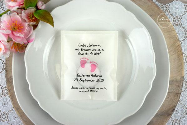Teelicht-Botschaft Design Foot  Rosa