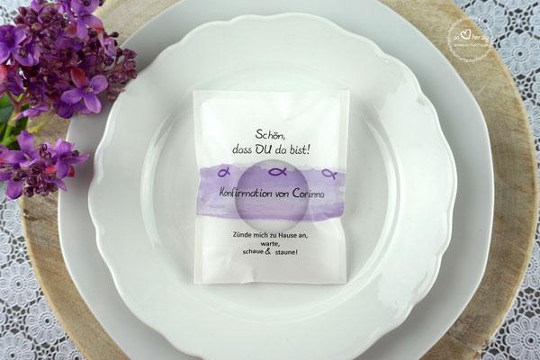 Teelicht-Botschaft Design Aquarellband/Fische Farbe Lila -Sonderwunsch ohne Datum und Band mittig